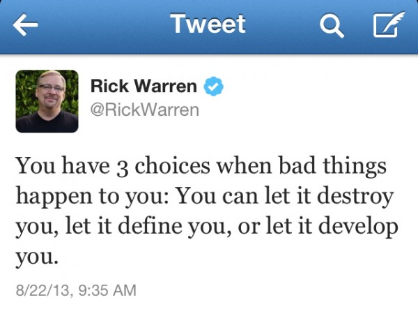 Rick Warren, after the death of his son.