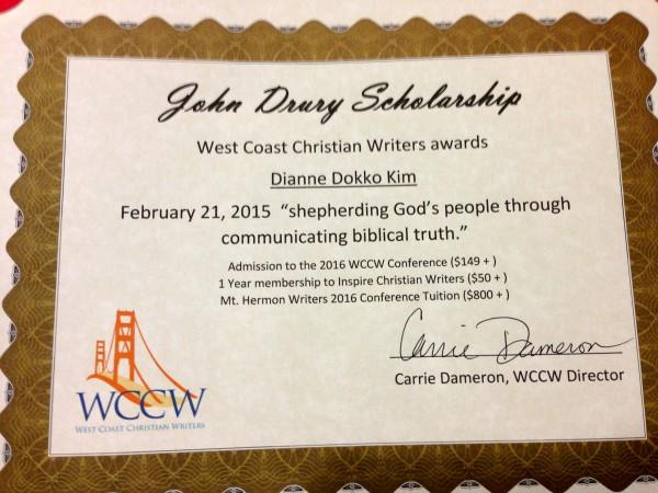2015 West Coast Christian Writers Award.